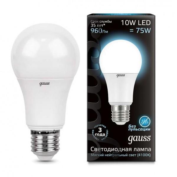 Лампа светодиодная Black A60 10Вт E27 4100К Gauss 102502210