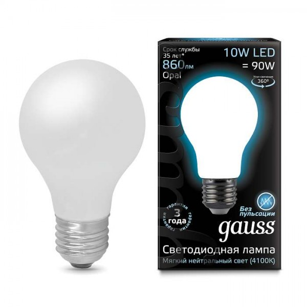 Лампа светодиодная Black Filament A60 E27 10Вт 4100К OPAL Gauss 102202210