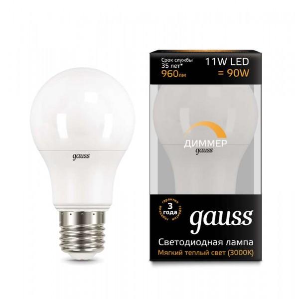 Лампа светодиодная Black A60-dim E27 11Вт 3000К диммир. Gauss 102502111-D