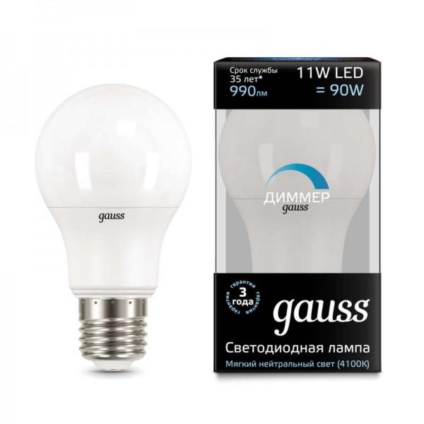 Лампа светодиодная Black A60-dim E27 11Вт 4100К диммир. Gauss 102502211-D