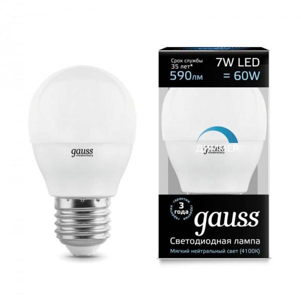 Лампа светодиодная Black Globe-dim E27 7Вт 4100К диммир. Gauss 105102207-D