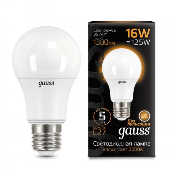 Лампа светодиодная Black A60 16Вт E27 3000К Gauss 102502116