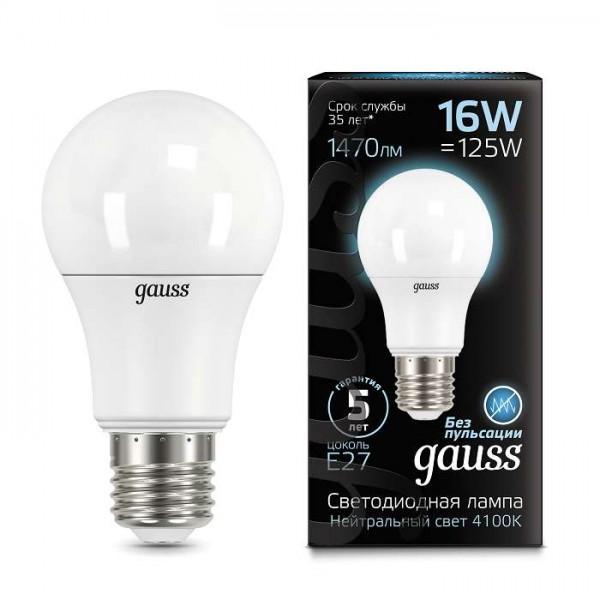 Лампа светодиодная Black A60 16Вт E27 4100К Gauss 102502216