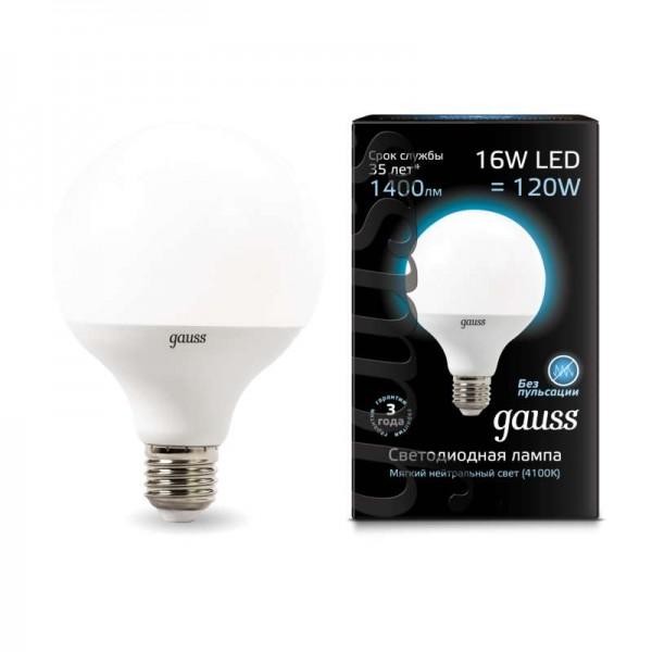 Лампа светодиодная Black G95 E27 16Вт 4100К Gauss 105102216
