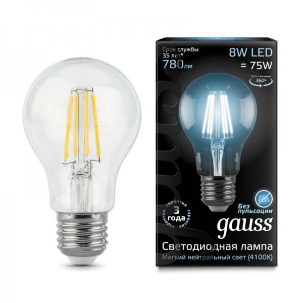 Лампа светодиодная Black Filament A60 E27 8Вт 4100К Gauss 102802208