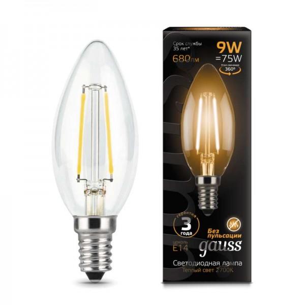 Лампа светодиодная Black Filament Свеча E14 9Вт 2700К Gauss 103801109
