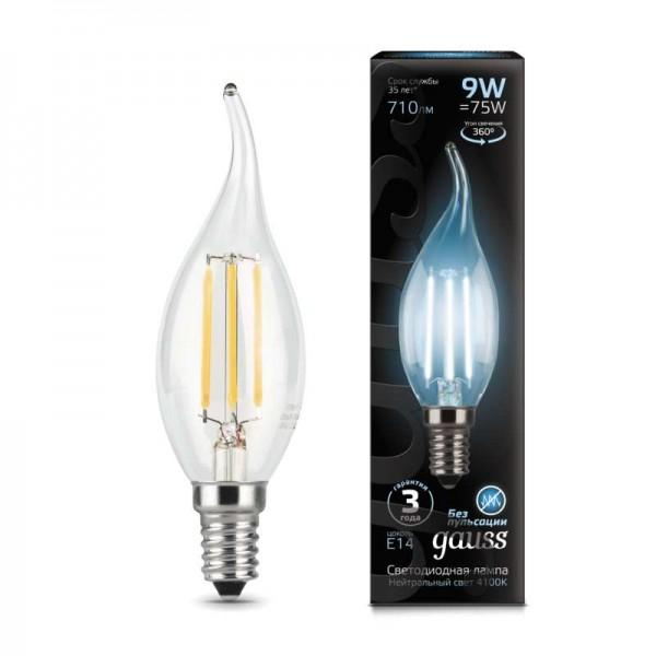 Лампа светодиодная Black Filament Свеча на ветру E14 9Вт 4100К Gauss 104801209