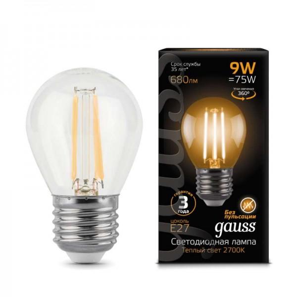 Лампа светодиодная Black Filament Шар E27 9Вт 2700К Gauss 105802109
