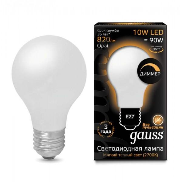 Лампа светодиодная Black Filament A60 E27 10Вт 2700К OPAL диммир. Gauss 102202110-D