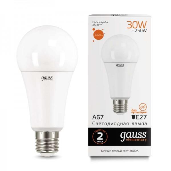 Лампа светодиодная Elementary A67 30Вт E27 3000К Gauss 73219