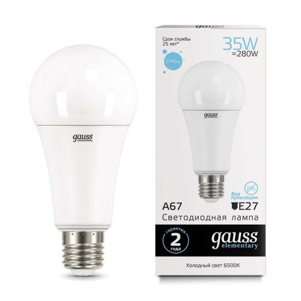 Лампа светодиодная Elementary A67 35Вт E27 4100К Gauss 70225