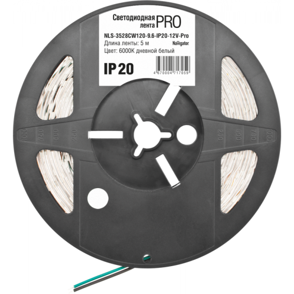 Лента светодиодная 71 705 NLS-3528CW120-9.6-IP20-12V-Pro R5 9.6Вт/м (уп.5м) Navigator 71705