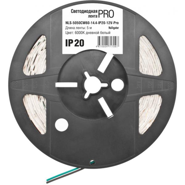 Лента светодиодная 71 709 NLS-5050CW60-14.4-IP20-12V-Pro R5 14.4Вт/м (уп.5м) Navigator 71709