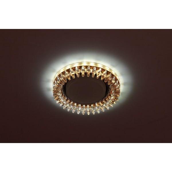 Светильник DK LD20 TEA/WH GX53 декор со светодиод. подсветкой прозр. ЭРА Б0028066
