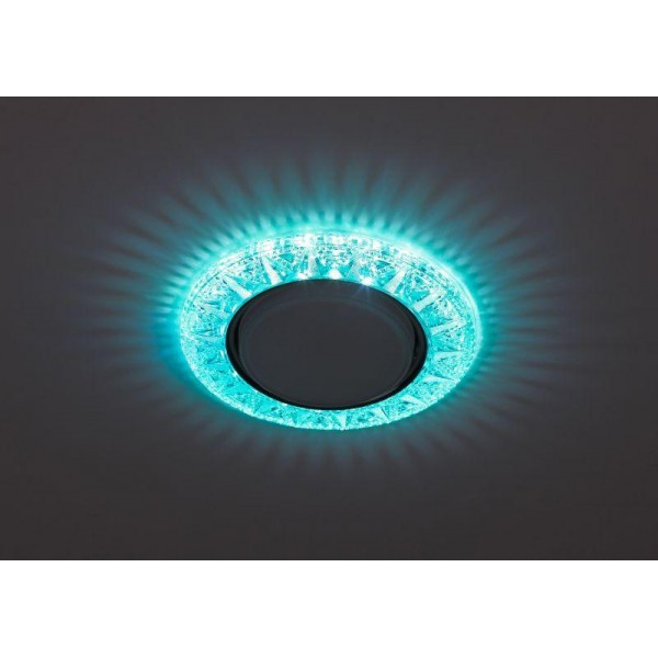 Светильник DK LD22 BL/WH GX53 декор со светодиод. подсветкой голуб. ЭРА Б0029624