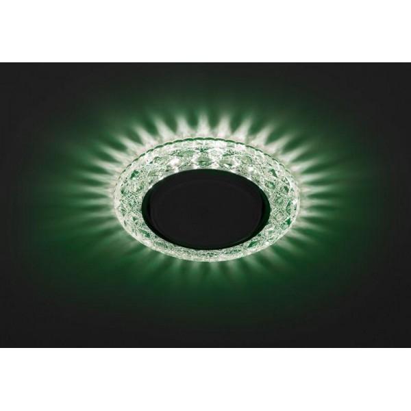 Светильник DK LD24 GR/WH GX53 декор со светодиод. подсветкой зел. ЭРА Б0029634