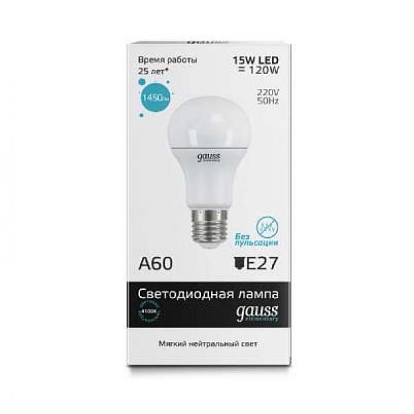 Лампа светодиодная Elementary A60 15Вт грушевидная 4100К бел. E27 1450лм 180-240В Gauss 23225