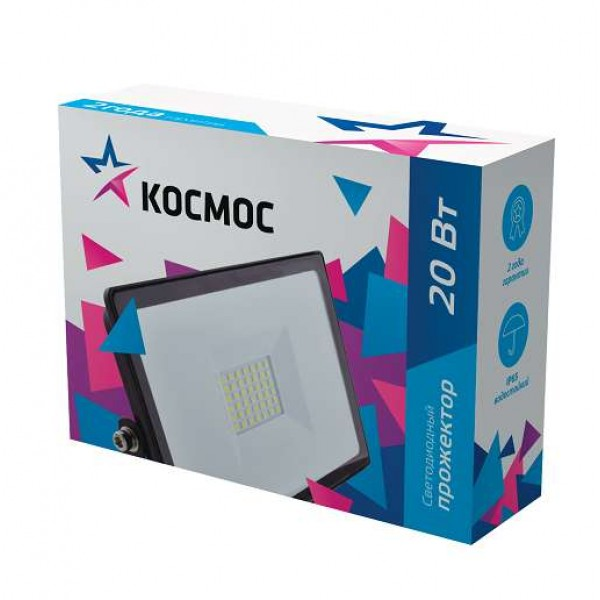 Прожектор 20Вт 1600лм 6500К IP65 с датчиком движения и фотосенсором Космос K_PR5_LED_20S